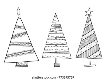 Christmas decorative trees. Black and white illustration for coloring book or page.