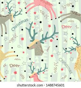 Christmas deer with blue-green horns gallops. Wild forest animals. Scandinavian style. Baby design. Seamless pattern.