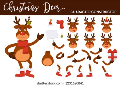 Christmas deer cartoon character constructor of Santa clothing hat, reindeer antler or hoof and body parts or New Year decoration vector icons for Christmas greeting card design
