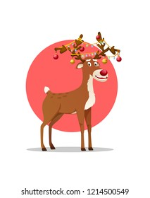 Christmas deer cartoon character. santas reindeer. smiling Dasher, Dancer, Prancer, Vixen, Comet, Cupid, Donder and Blitzen. with Christmas light garland on his antlers. vector isolated. eps10