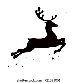 Christmas deer (elk), black silhouette on white background, vector isolated christmas card