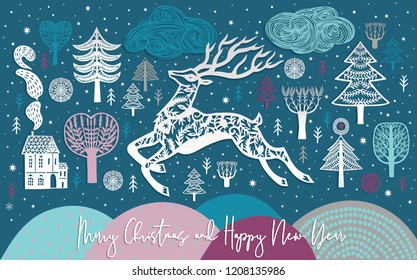 Christmas Deer in a forest. Vector paper art and digital craft style.