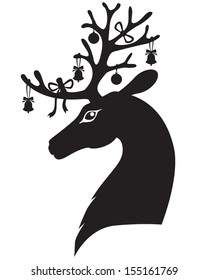 Christmas deer head with antlers decorated with bells and bows