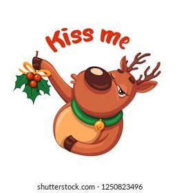 Christmas deer. Kiss me. Christmas vector illustration in a cartoon style. Winter symbol. Christmas and New Year design element.