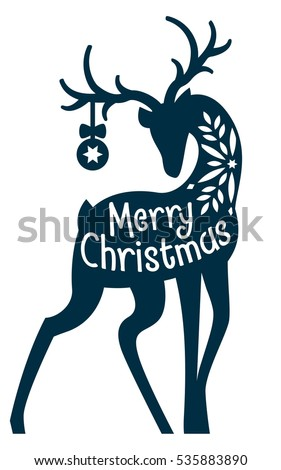 christmas deer laser cut card merry christmas and new year elegant winter reindeer decoration
