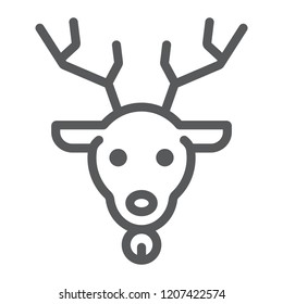 Christmas deer line icon, christmas and reindeer, rudolph sign, vector graphics, a linear pattern on a white background, eps 10.