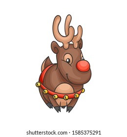 Christmas deer. Little deer. Christmas vector illustration in a cartoon style.  Christmas and New Year design element.