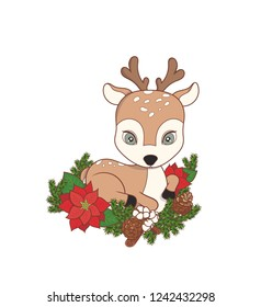 Christmas deer with new year decorations. Poinsettia, pine cone and cotton. Vector illustration on white background.