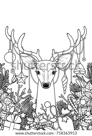 Christmas Deer Objects Frame Composition Winter Stock Vector ...