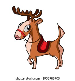 Christmas deer on white background Cute Cartoon Vector illustration