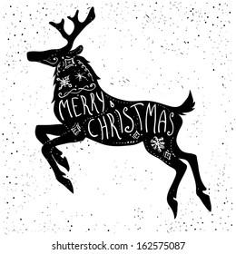 Christmas deer silhouette