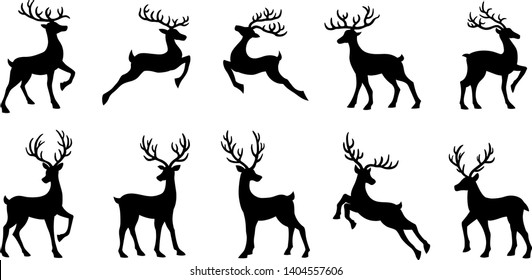 christmas deer silhouettes on the white background