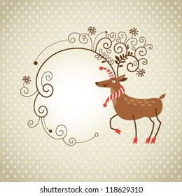 Christmas deer with whimsical antlers, Greeting card