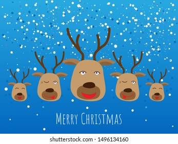 Christmas deer's heads on snowing background. flat design. cartoon style, eps10