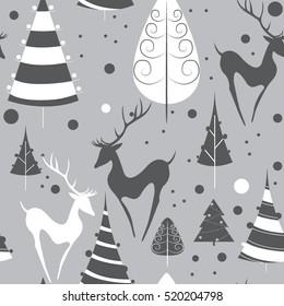 Christmas deers. seamless pattern