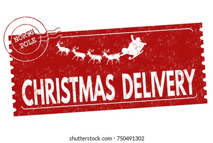 Christmas delivery grunge rubber stamp on white background, vector illustration