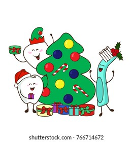 Christmas dental poster 2018. Funny dental characters decorate the Christmas tree and give gifts