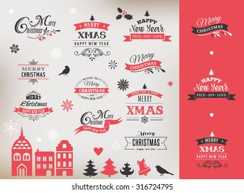 Christmas design collection, Set of lettering and typographic elements, icons, vintage labels. . Ribbons, xmas village and stickers