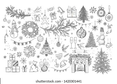Christmas design element in doodle style. Hand drawn.