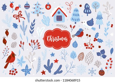 Christmas design elements with briar, berries, balls, fir branches, trees, mistletoe, snowflakes, cones, birds, stars, bows, leaves and northern cardinal. Perfect for winter decorations