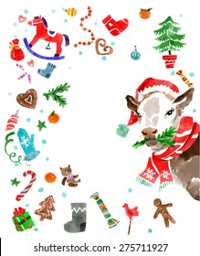 Christmas design elements and a cow in a hat in water color style . Xmas decorations set. Vector illustration