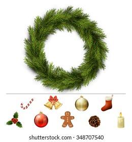 Christmas design elements for custom wreath decoration. Xmas template. Vector eps10 illustration
