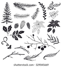 Christmas design elements: fir, spruce branch, Christmas tree, branch, poinsettia, holly, pine cone.