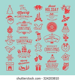 Christmas design elements, logos, badges, labels, icons, decoration and objects.