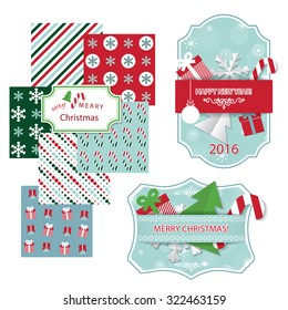 Christmas design elements set. Frames, patterns, paper cut objects.