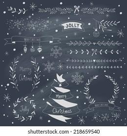 Christmas design elements set on blackboard. EPS 10. Transparency. No gradients.