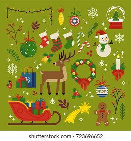 Christmas design elements, vector. Quality flat design Xmas decorative items featuring Santa's sleigh, gifts, gingerbread man, deer, holly tree leaves, snowman, wreath, garland, mistletoe, etc.