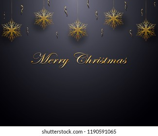 Christmas design with hanging golden snowflakes and confetti, on gradient gray background. Vector eps 10.