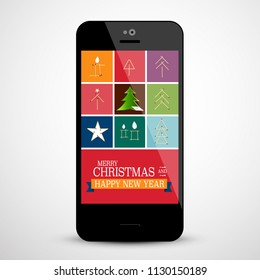 Christmas Design on Mobile Phone Screen - Vector
