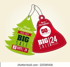 Christmas design over beige background, vector illustration