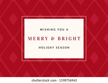 """Christmas design with red geometric pattern and text """"Wishing You a Merry & Bright Holiday Season"""" on white background. Stylish and elegant greeting card, social media post, brochure design."""