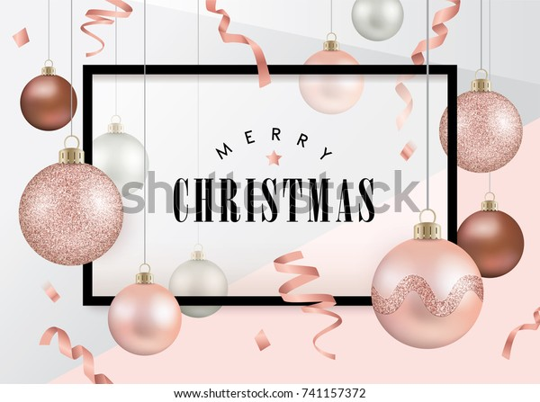 Christmas Design Template Christmas Balls Rose Stock Vector Royalty