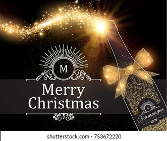 Christmas Design Template with Champagne Glasses, Wine Bottle, Bow, Gold Effects and Flash light. Vector illustration