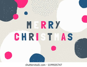 """Christmas design with text """"Merry Christmas"""" in blue, pink, gray and white and handdrawn shapes and textures on cream background. Creative and modern greeting card, social media post, brochure design."""