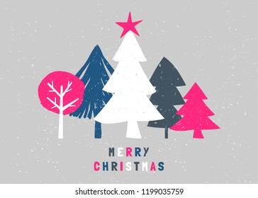 """Christmas design with text """"Merry Christmas"""" and trees in white, blue, pink and gray on light gray background. Creative and modern greeting card, social media post, brochure design."""