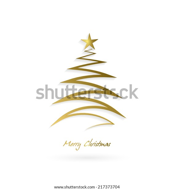 Christmas Design Tree With Star And Shadow On A White Background