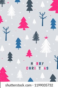 Christmas design with trees in white, blue, pink and gray on light gray background. Creative and modern greeting card, social media post, brochure design.