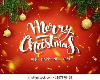 "Christmas design vector template. Calligraphic ""Merry Christmas"" Lettering Decorated. Christmas poster template. Vector illustration EPS10."