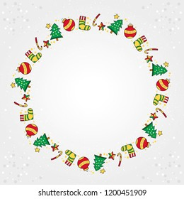 Christmas designs with trees and socks in the shape of a circle