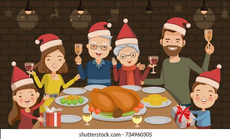 Christmas dinner. Family toasting with red wine in Christmas dinner at home in the living room.Father, mother, grandfather, grandmother, son, daughter, are celebrating together. vector illustration.