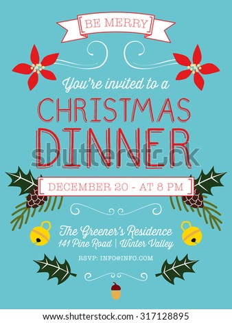 christmas dinner invitation flyer on light stock vector royalty