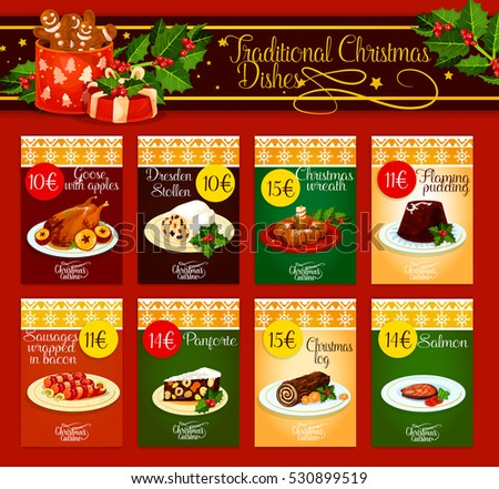 christmas dinner menu template meat fish stock vector royalty free