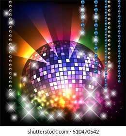 Christmas disco ball background with space for text, party concept, invitation mock up