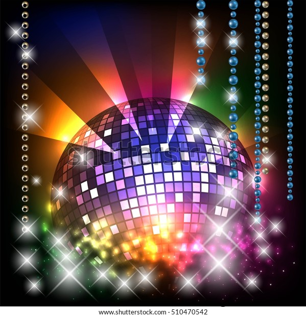 Christmas Disco Ball.Christmas Disco Ball Background Space Text Stock Vector