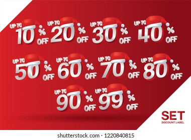Christmas discount sale set 10,20,30,40,50,60,70,80,90,99 percent on red label set (vector) with hat santa claus. Winter holiday discount offer. Vector illustration isolated on red background.