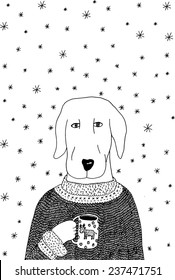 Christmas Dog in Cardigan. Hand-drawn illustration.